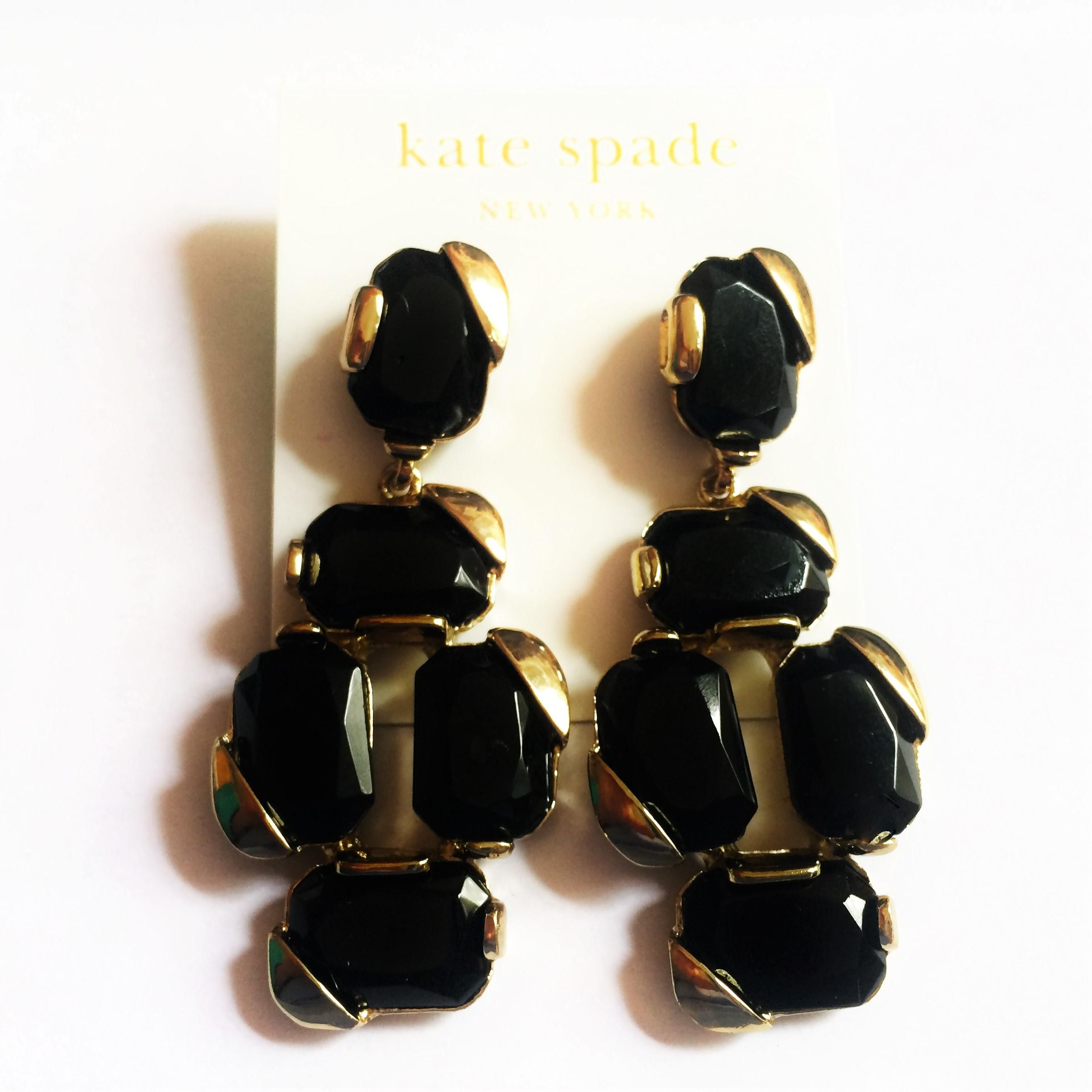 9e14a4ac0 Free shipping and guaranteed authenticity on NEW Stepping Stones Statement  Earrings, Black, Gold at Tradesy. Kate Spade Jewelry Stepping Stones  Statement ...