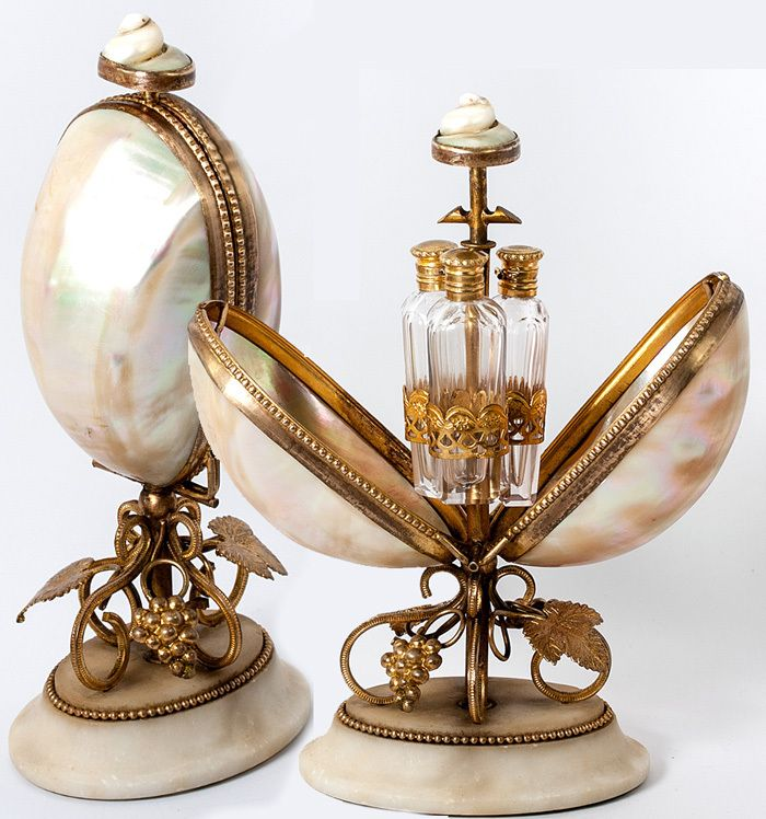 Antique Early 19th C. French Perfume or Scent Caddy, Mother of Pearl Shells, Ormolu, 3 Flasks - Palais Royal