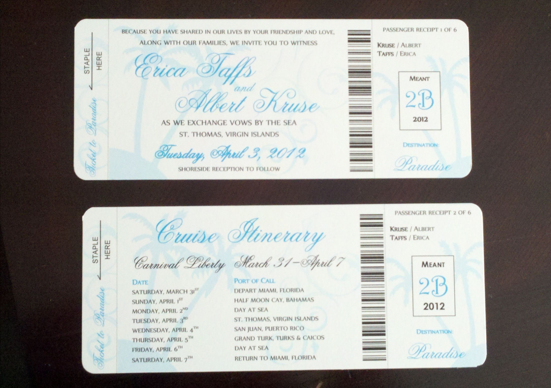 Cruise Wedding Invitation Wording Examples: My DIY Boarding Pass Invitations