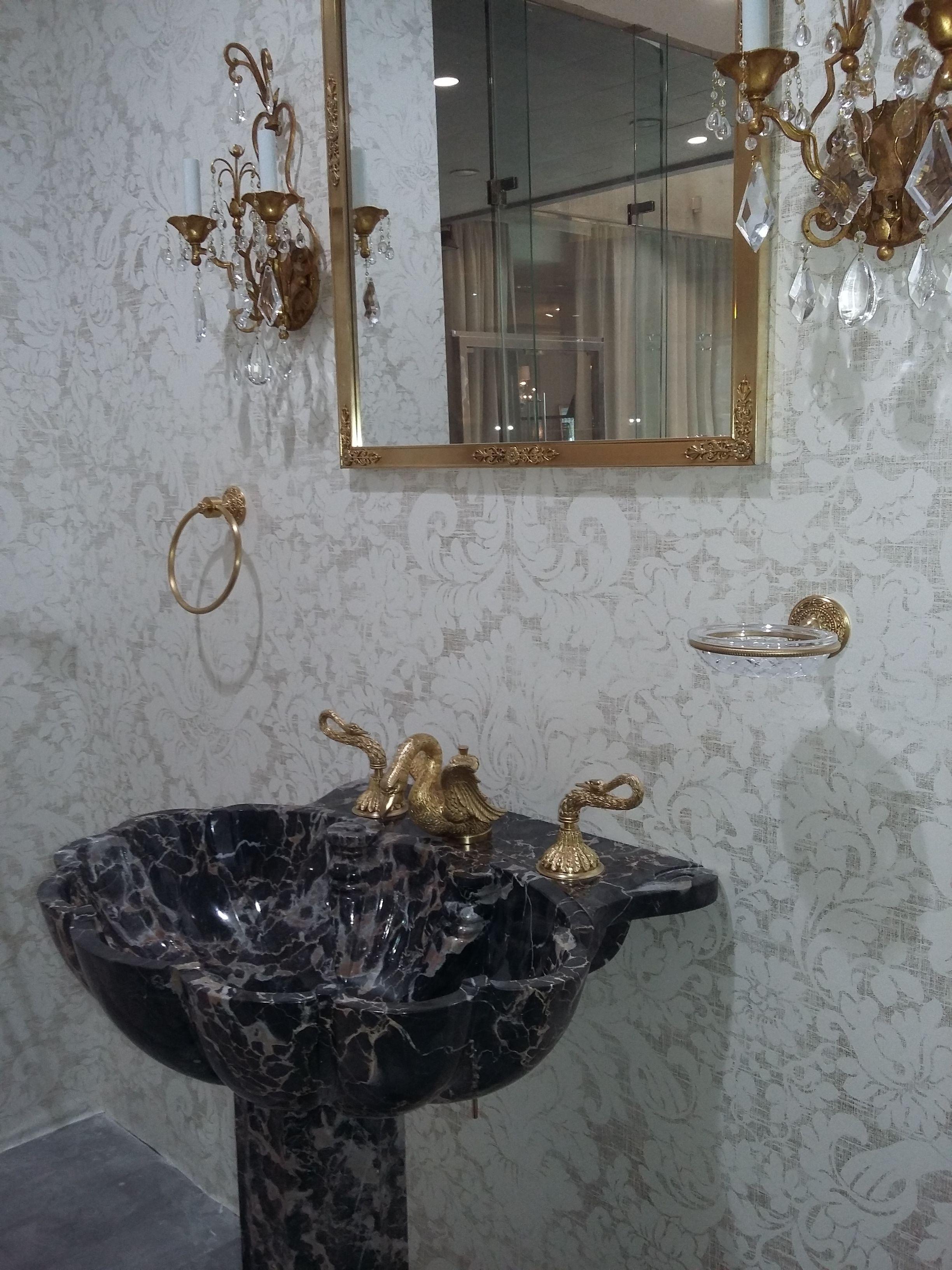 Sherle Wagner Louis Damask Gold Wallpaper Swan Washbasin Mixer