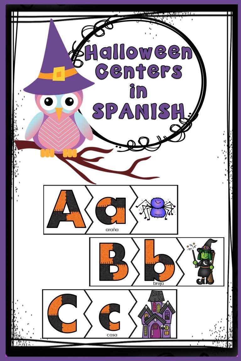 Halloween Centers in SPANISH Language activities