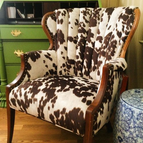 We Are Utterly Smitten With How This Cow Print Fabric Turned Out On Antique Channel Back Chair Alvaandaustrie