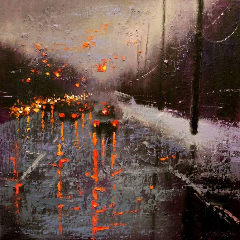 "Saatchi Art Artist Chin h Shin; Painting, ""Winter Reflection"" #art"