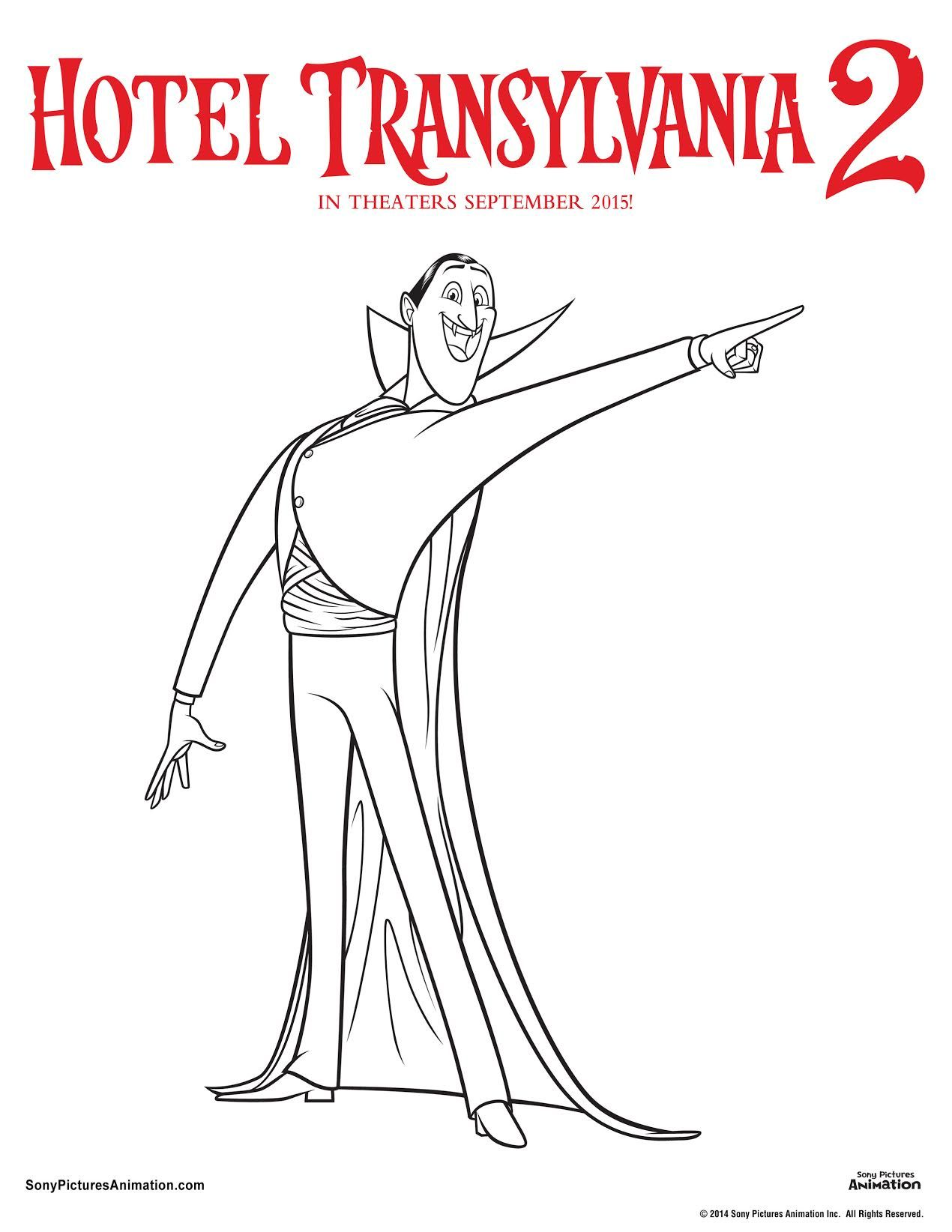 Colouring pages hotel transylvania - Hotel Transylvania 2 Printables Dracula Colouring Page