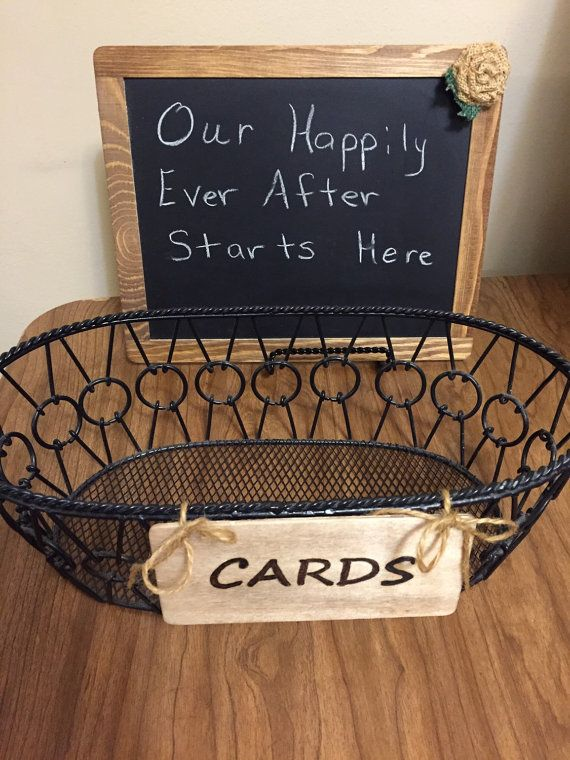 Card Basket With Sign Rustic Chalkboard Stand Organizer And Chalk Board