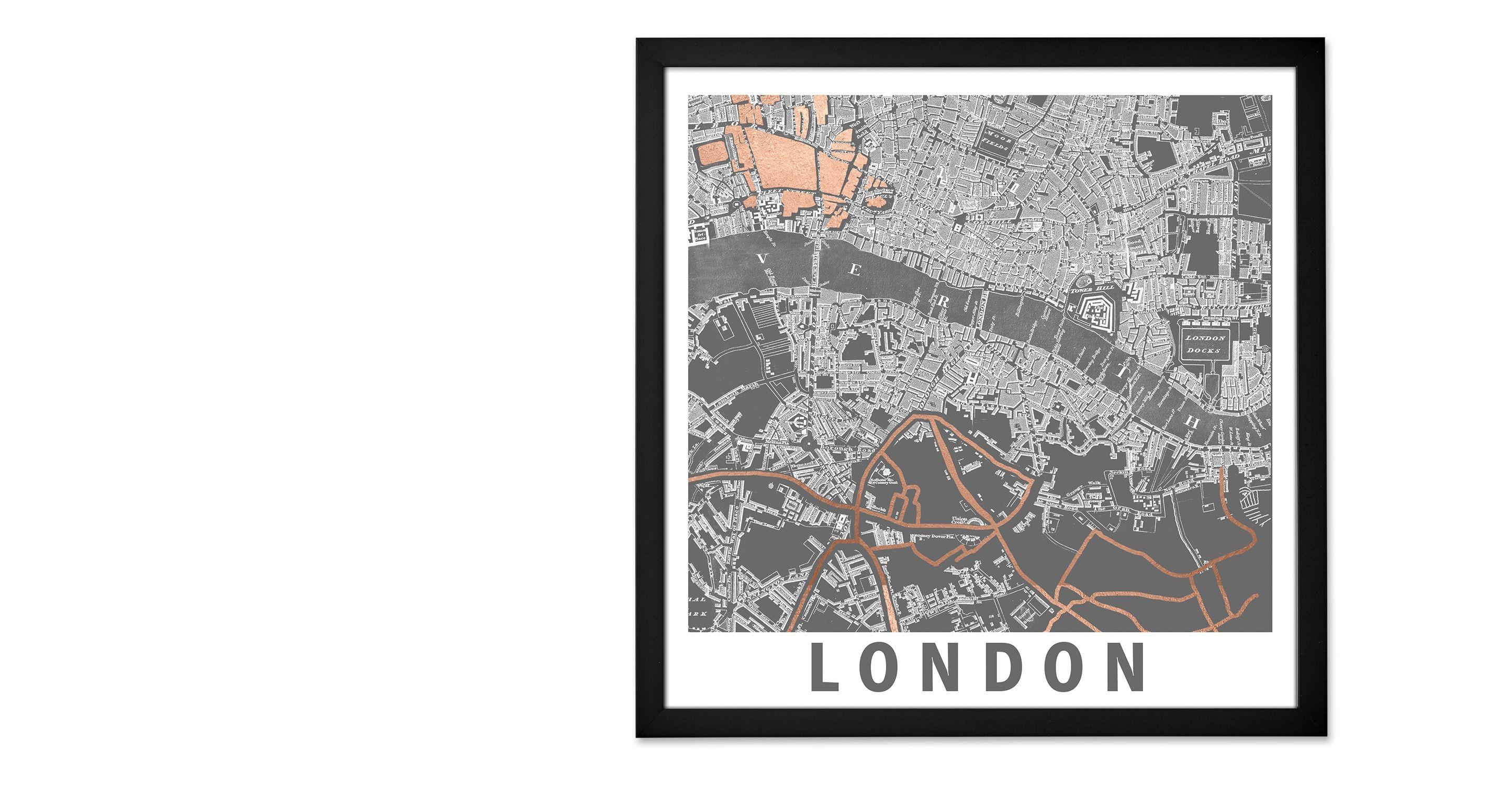fine --> Kunstdrucke - London Graphic Map, mit Rahmen - MADE.com ...