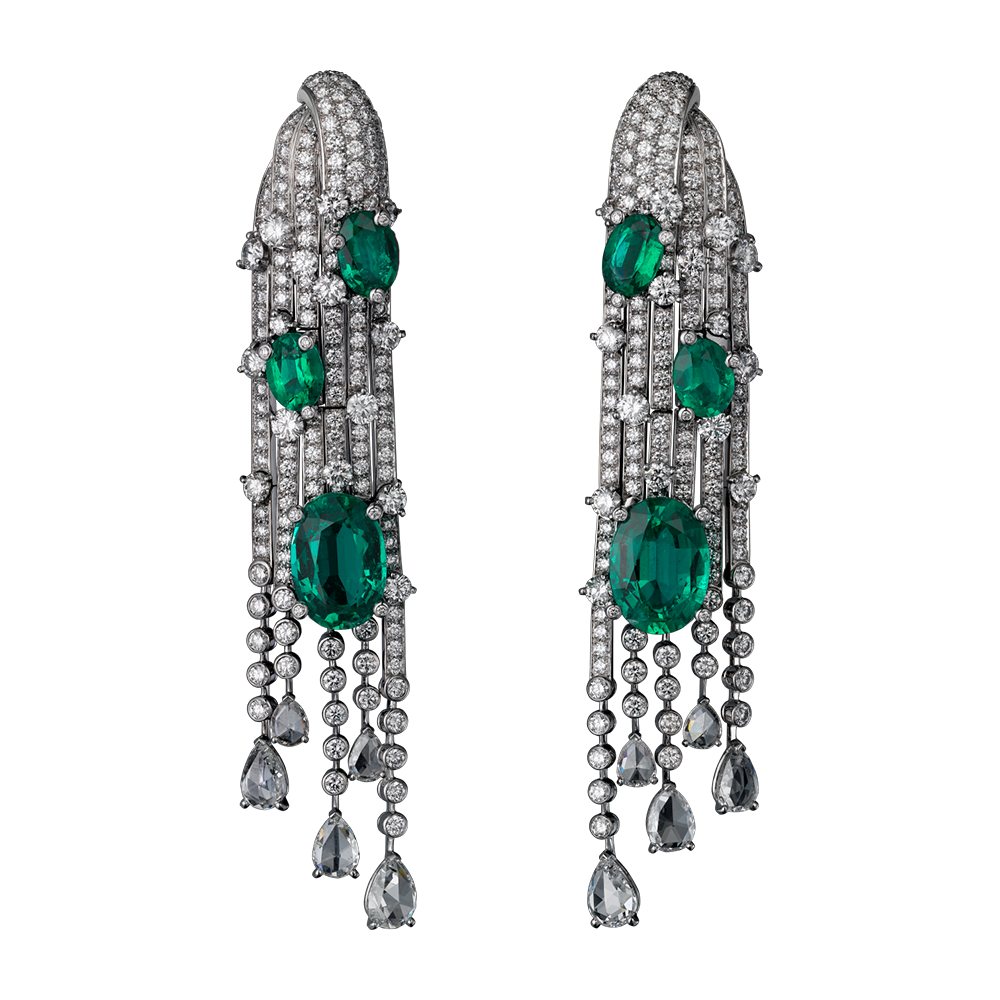 Cartier High Jewelry Earrings White Gold Six Oval