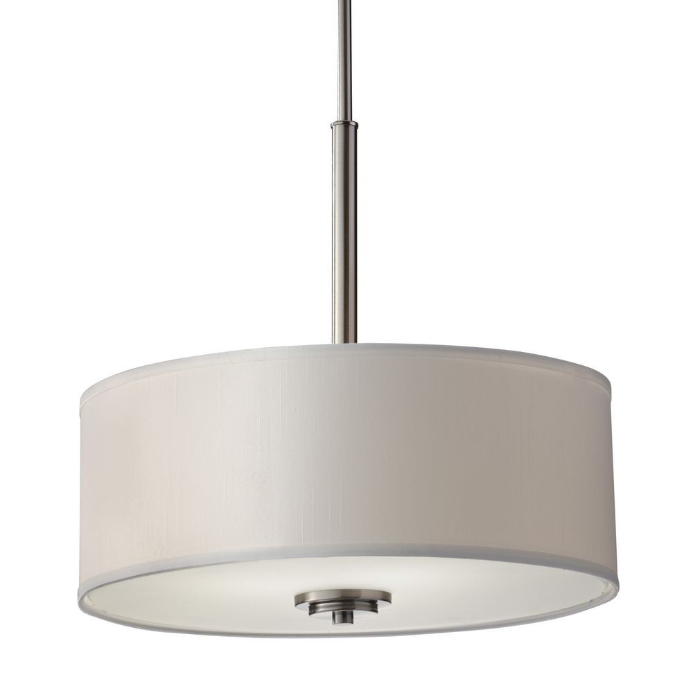 Feiss Lighting Modern Drum Pendant Light With Off White Shade In Brushed Steel Finish F2771