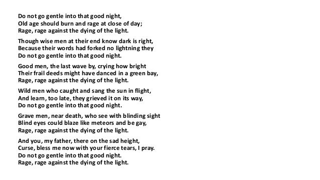 Do Not Go Gentle Into That Goodnight Dying Of The Light Poetry