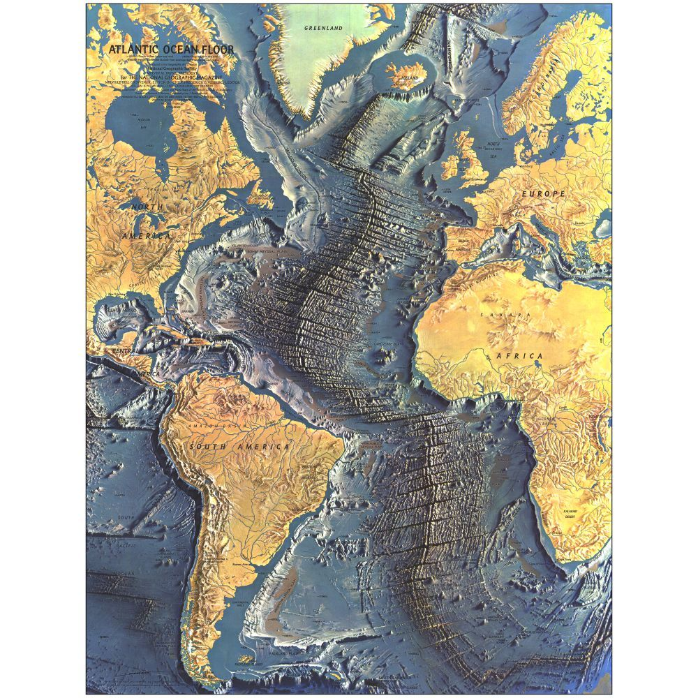 Geographic Map Of Earth.1968 Atlantic Ocean Floor Map Laminated National Geographic Store