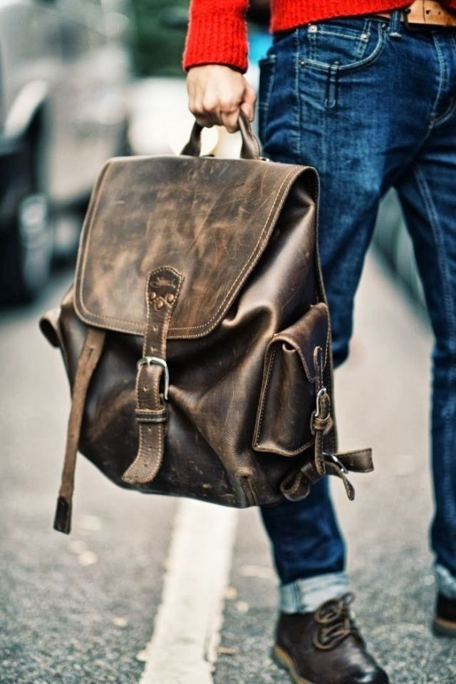 Leather Backpack Men S Fashion Rucksack Leather Bags Mens