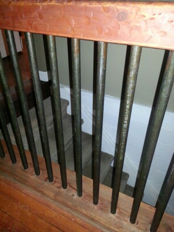 Open staircase black gas pipe (distressed 4x4 rail ...
