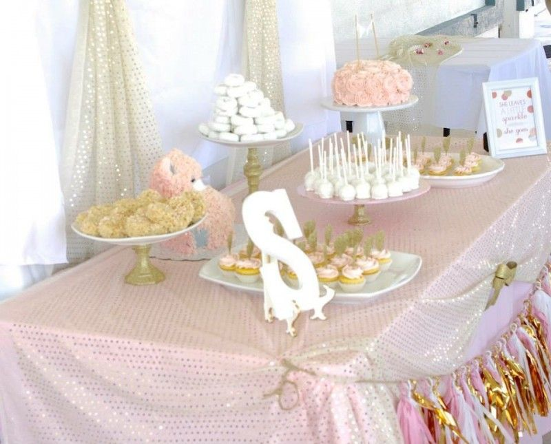 Pink and gold baby shower white baby showers beautiful for Baby shower food decoration ideas