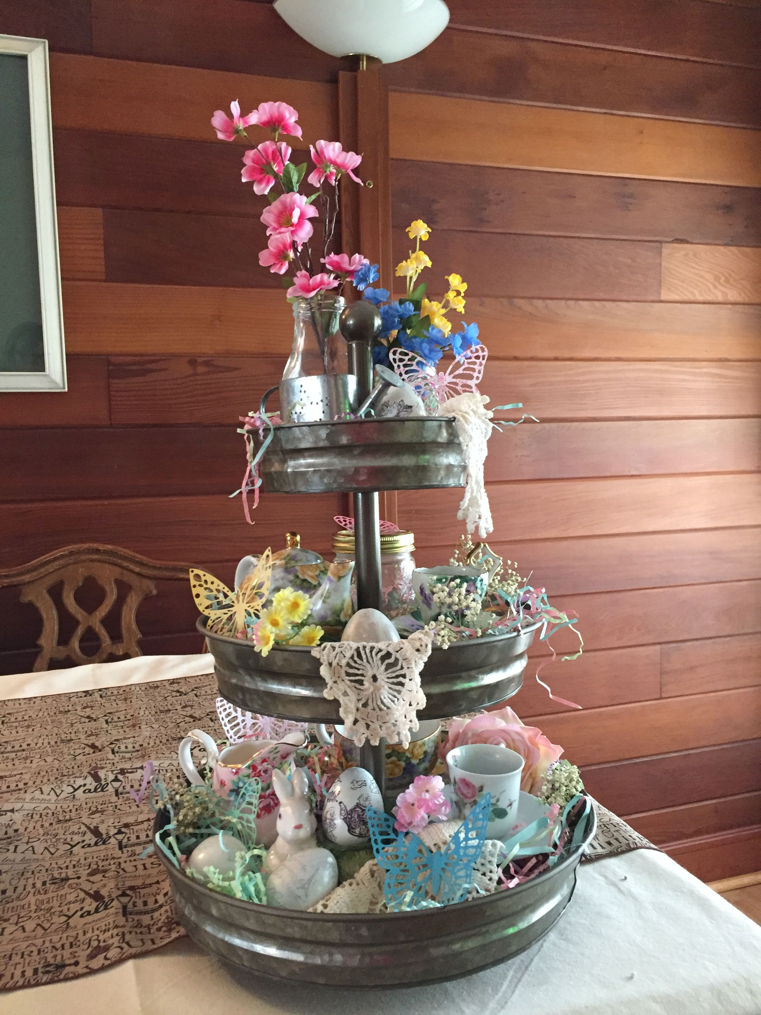 Galvanized Tray For Spring Easter Can Be Changed Each Season Spring Easter Decor Galvanized Tiered Tray Tiered Tray