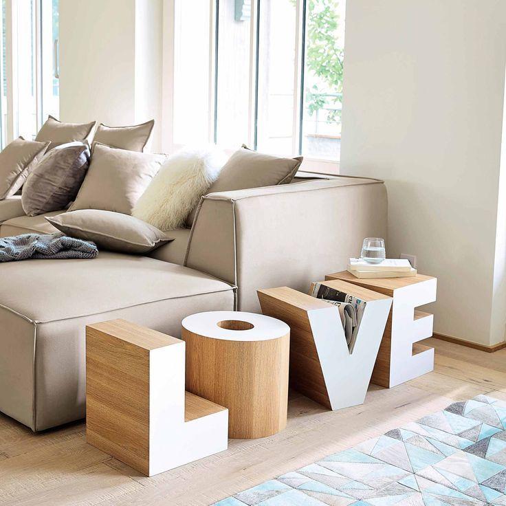 Bout de canapé en bois blanc L 121 cm LOVE | Maisons du Monde | Je ...