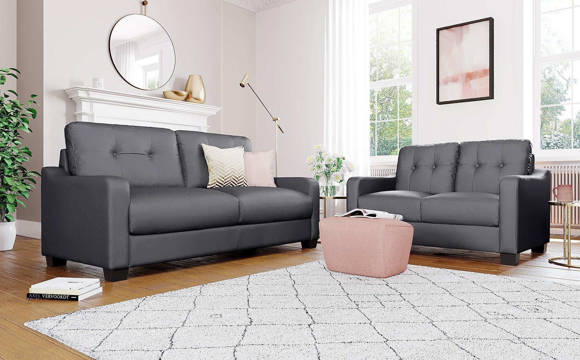 Belmont Grey Leather 3 2 Seater Sofa Set Grey Leather Sofa