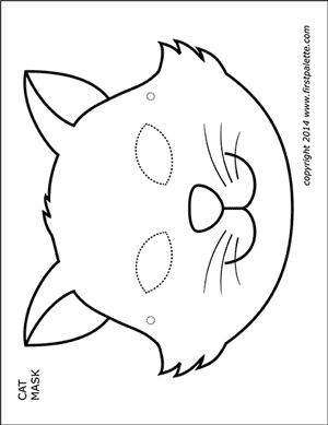 Cat Mask Template : template, Printable, Masks, Halloween, Coloring, Pages,, Coloring,, Animal