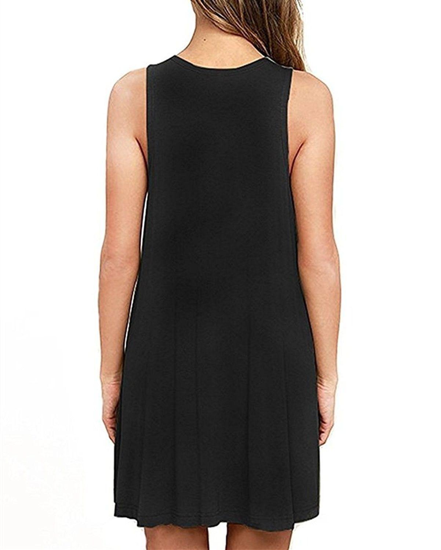 womenus casual plain simple tshirt loose dress black