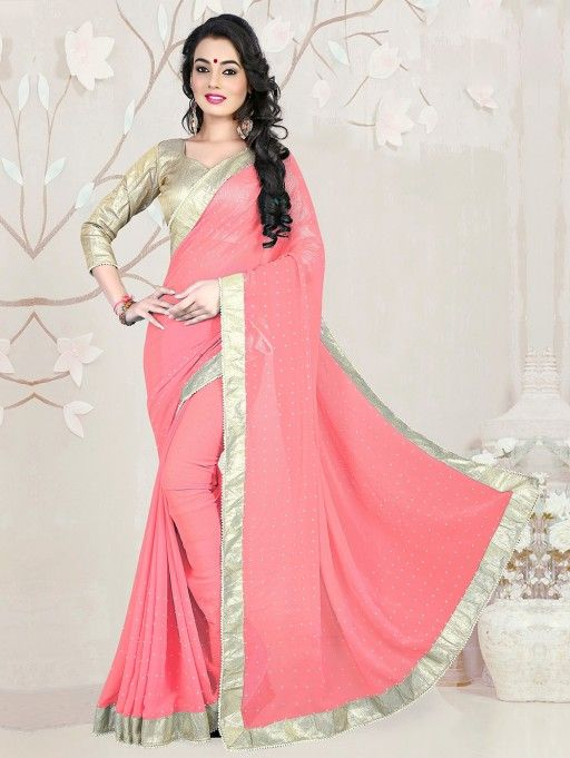 Light Pink Georgette Saree with Stone Work