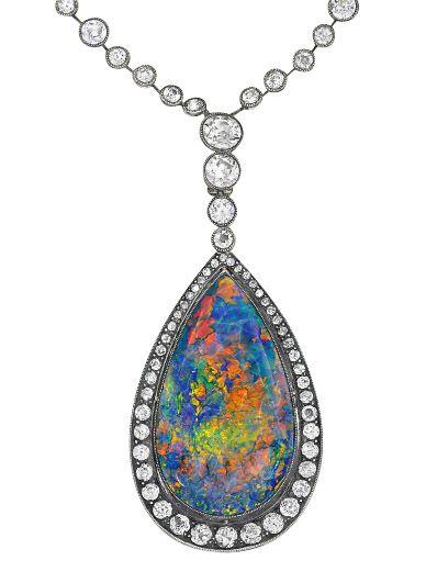 Black Opal macrame necklace