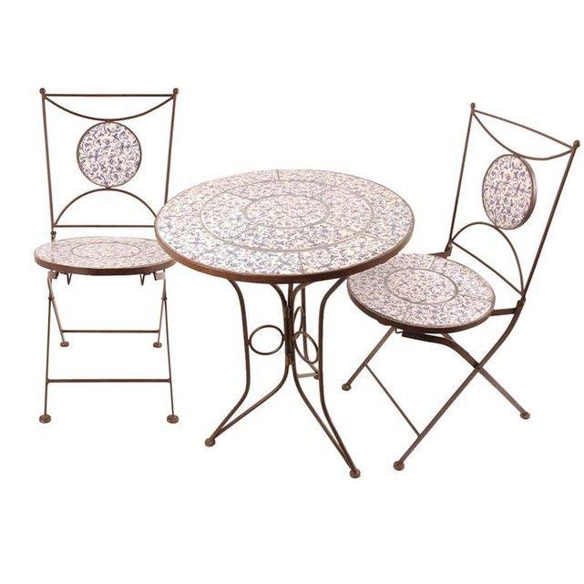 Table Et Chaises Jardin Fer Forg Cramique 2 Personnes