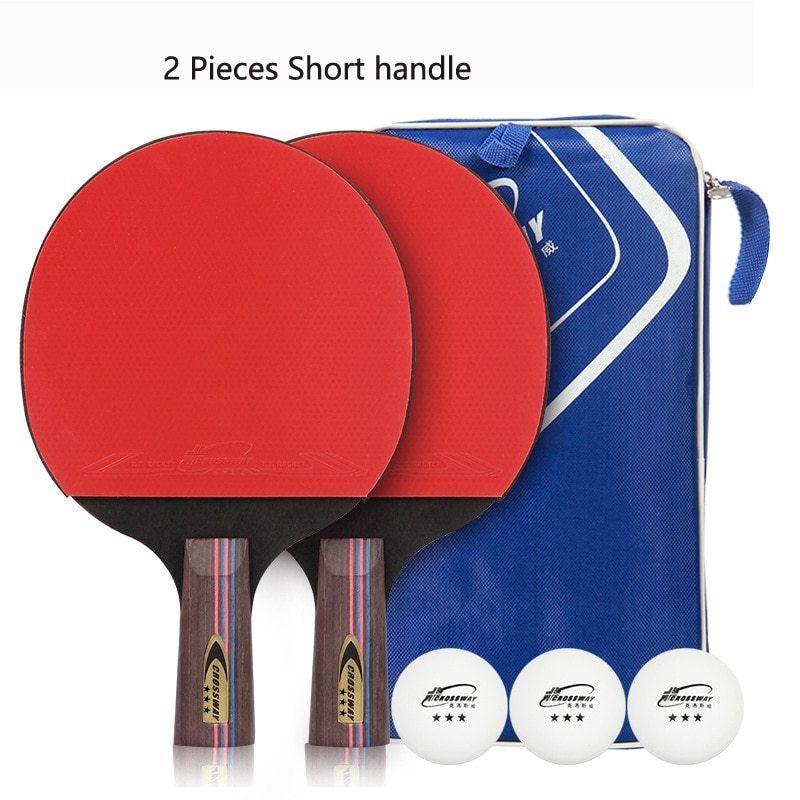 Long Short Table Tennis Racket Bat Carbon Fiber With Bag Ping Pong Paddle