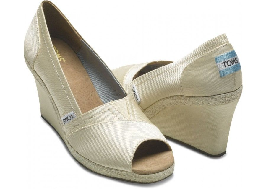 Wedges - Ivory Grossgrain Women's Wedges | TOMS.com