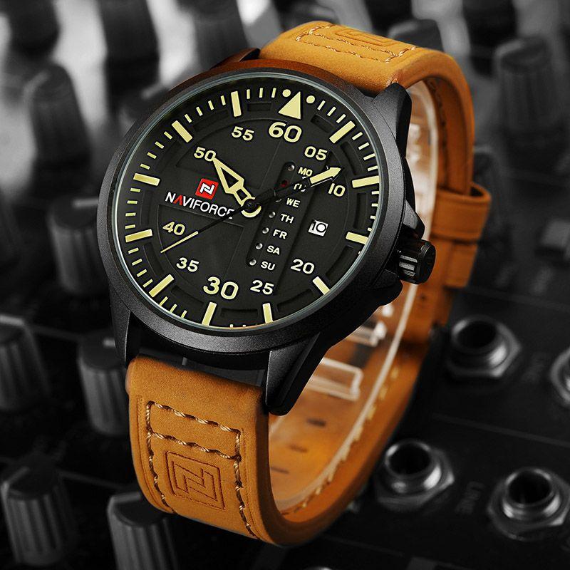 5b57e56606d Topo Luxo Marca NAVIFORCE Men Relógios Esportivos Homens Quartzo Data Relógio  Homem Couro Exército Relógio De Pulso Militar Relogio Masculino
