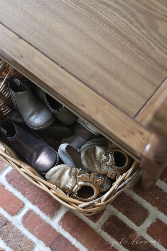 use baskets to store shoes in the mudroom so that you can find them on the way out the door