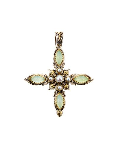 Konstantino Amphitrite Agate & Pearl Cross Pendant Enhancer y4l5Kds0c