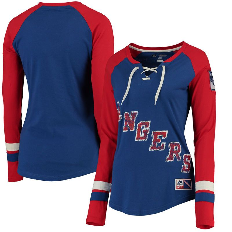 New York Rangers Majestic Women s Vintage Hip Check Lacer Long Sleeve T- Shirt - Royal f18915c54