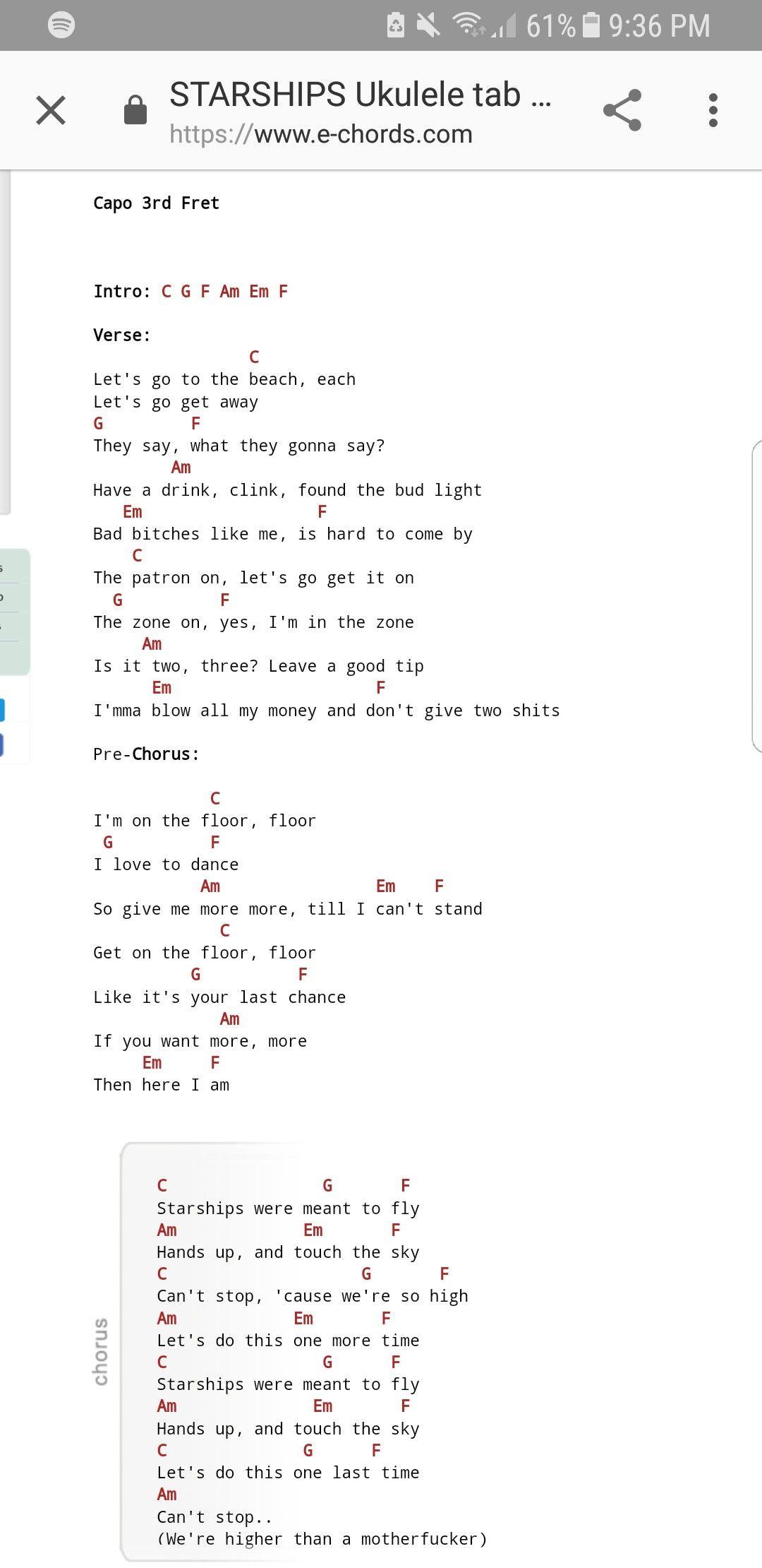 Starships Ukelele Chords Ukulele Music Ukelele Chords Ukelele Songs