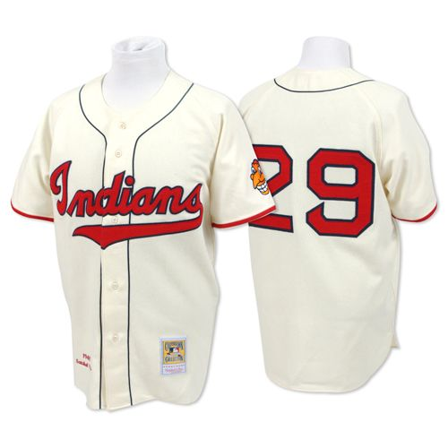 buy popular 17acc 14fad Cleveland Indians Authentic 1948 Satchel Paige Home Jersey ...