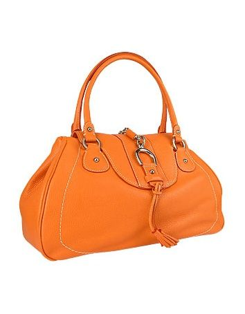 Buti Orange Pebble Italian Leather Horsebit Flap Handbag