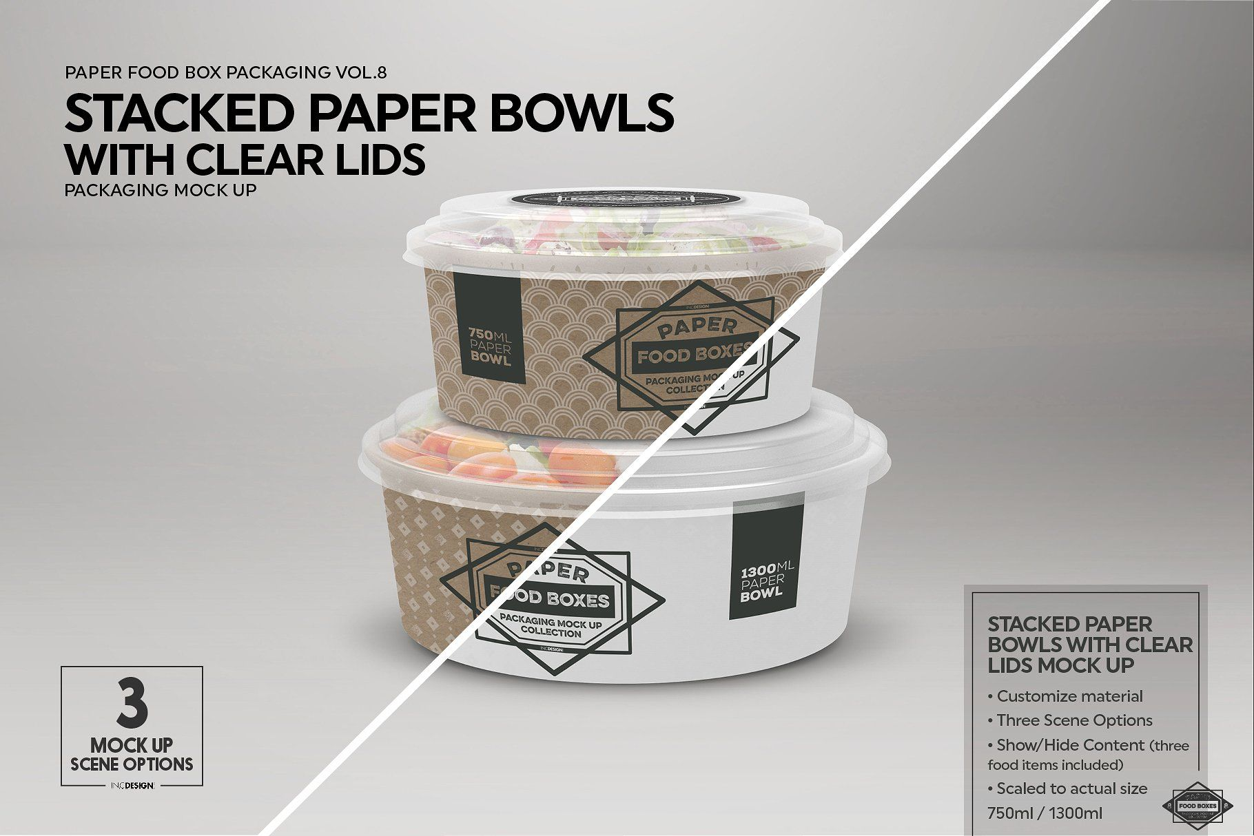 However, you can change it just at a click using smart object features. Stacked Paper Bowls Packaging Mockup Paper Bowls Food Box Packaging Food Packaging Design