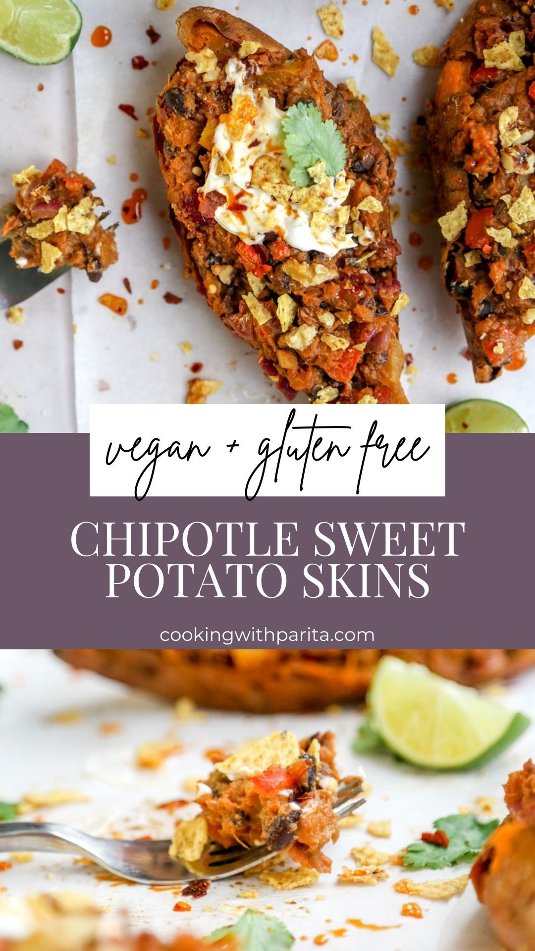 Healthy Chipotle Sweet Potato Skins - Vegan and Gl