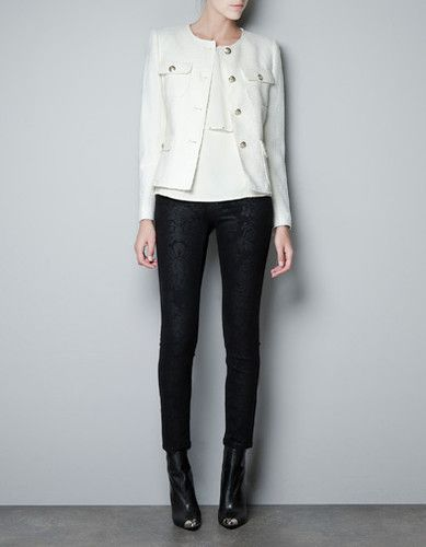 4693ef5c Zara OFF White Ivory Tweed Boucle Military Jacket With Gold Buttons ...