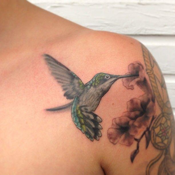Hummingbird Shoulder Tattoo