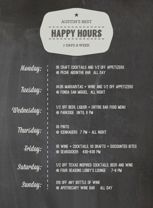 Austin S Best Happy Hours By Days Of The Week Best Happy Hour