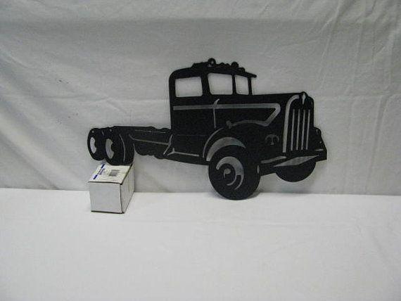60 S Kenworth Semi Truck Metal Wall Art Silhouette By Cabinhollow 85 00
