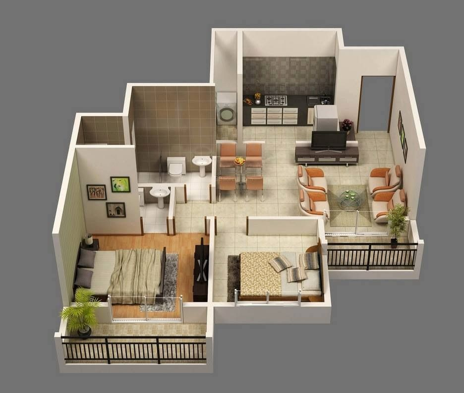 Awesome 50 Two 2 Bedroom Apartment House Plans Architectural Interior Design Ideas Skatsoteloinfo