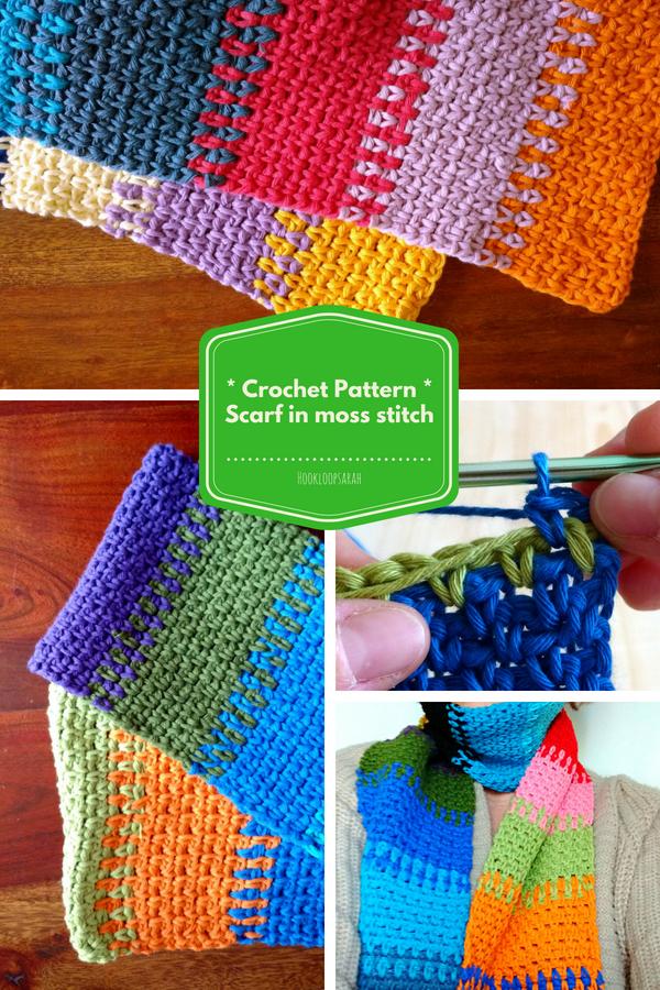 Crochet Pattern Scarf Colourful Cotton Moss Stitch Granite Stitch