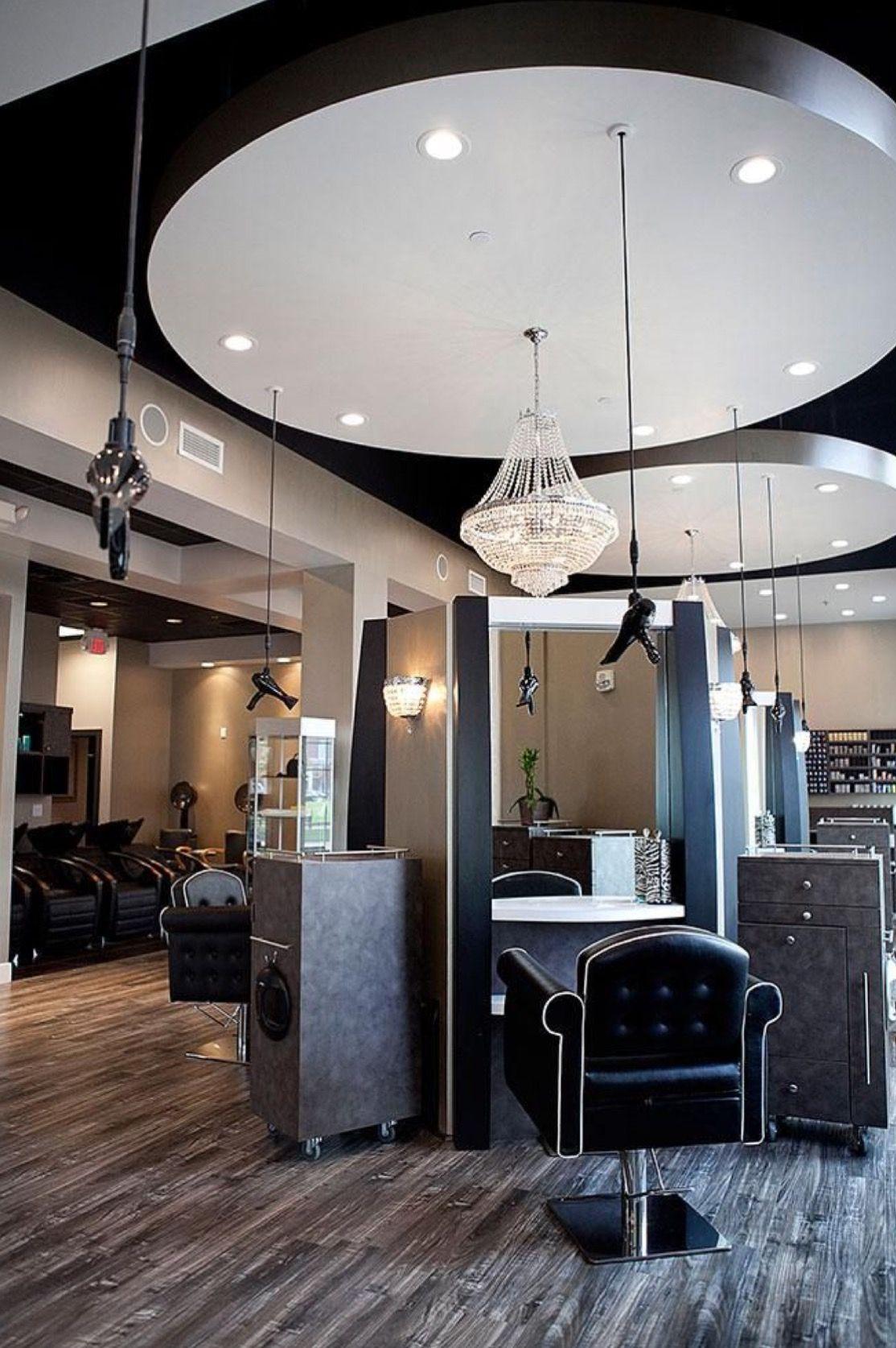 Sleek, sophisticated hair salon decor. | Hair salon decor, Beauty salon decor