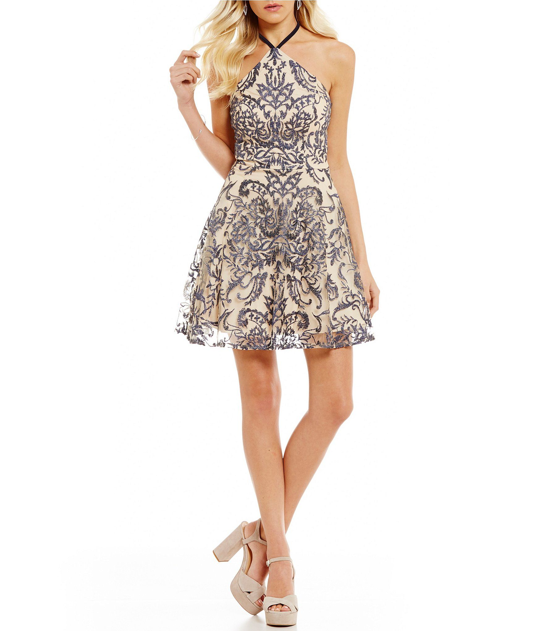 Xtraordinary Yneck Embroidered Fit And Flare Dress Dillards