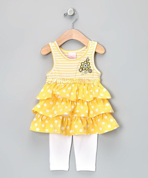 Look at this Yellow Ruffle Tunic & Leggings - Infant on #zulily today!