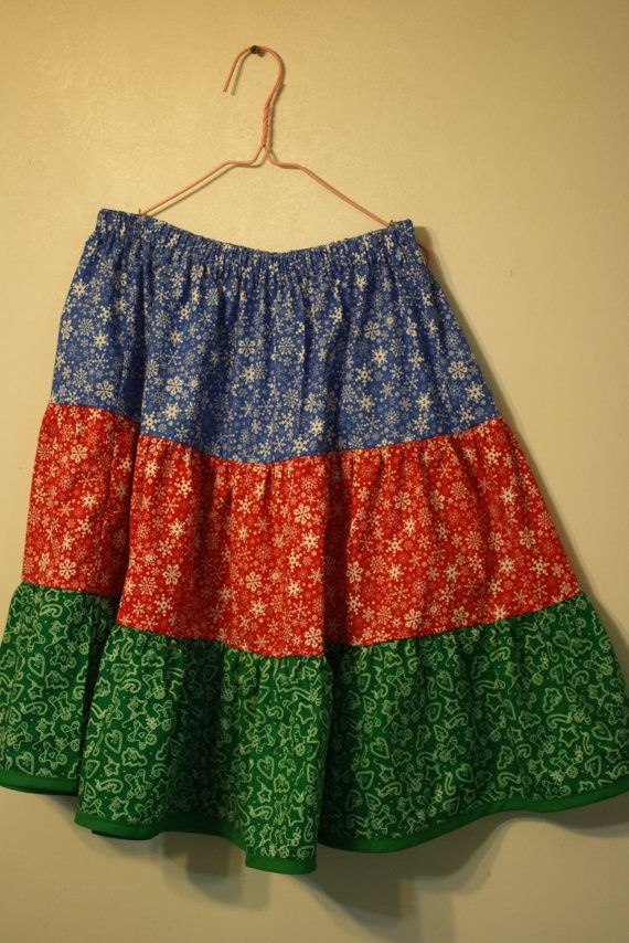 Christmas twirly Skirt Girl's Handmade by creationsbyjessi on Etsy, $22.00