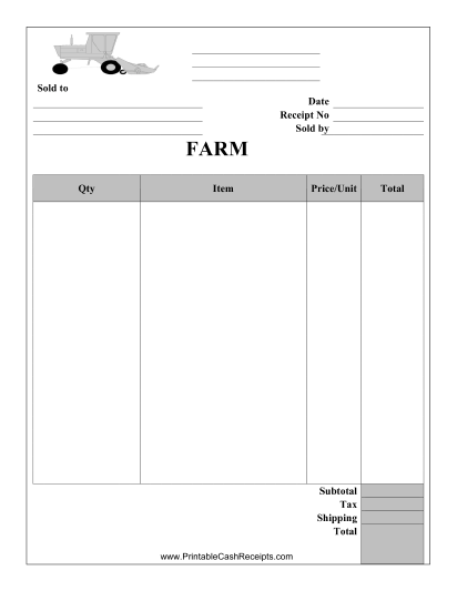 This Farm Supplies Receipt Can Be Used Be Used For Selling Farming Supplies  And Implements.  Print A Receipt Free