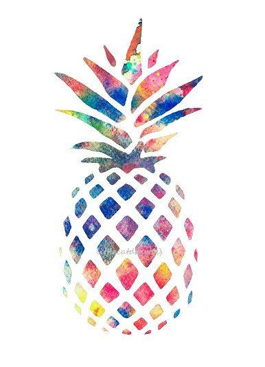 Watercolor Pineapple Colorful Art Print, Rainbow Colors, Kitchen Art Print, Watercolor Painting  Watercolor Print