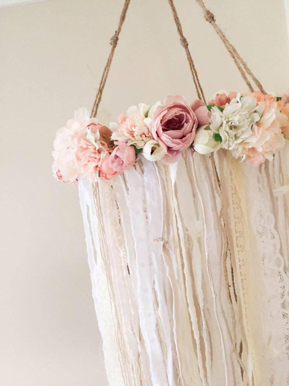 chandelier for girls room. Rustic Flower Mobile    Handmade   Baby Girl Nursery Decor Floral Chandelier For Girls Room