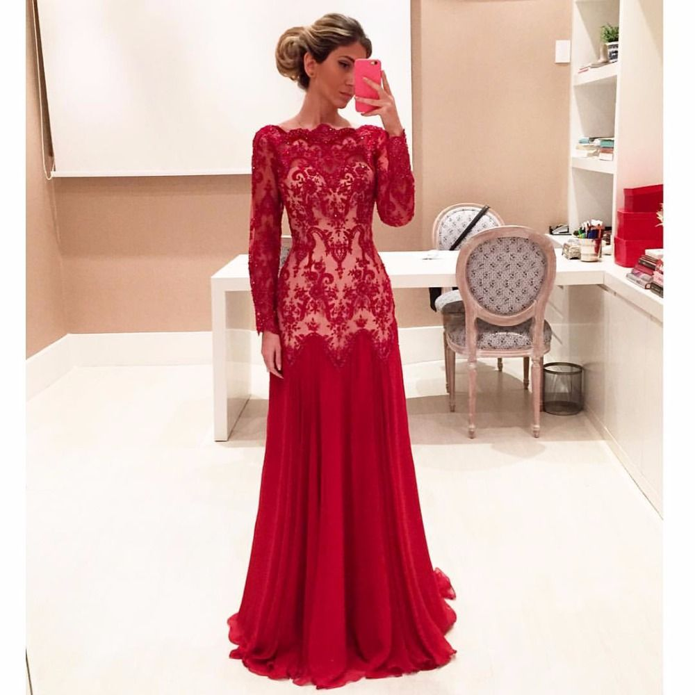 A line red dress long sleeve wedding dress pinterest lace
